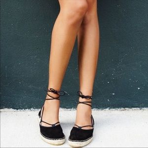 Free People Marina Black Suede Lace Up Espadrilles